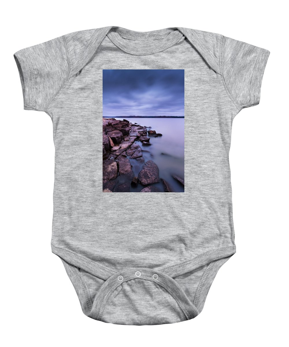 Tuttle Baby Onesie featuring the photograph Evening On Tuttle Creek Lake In Kansas by Tommy Brison