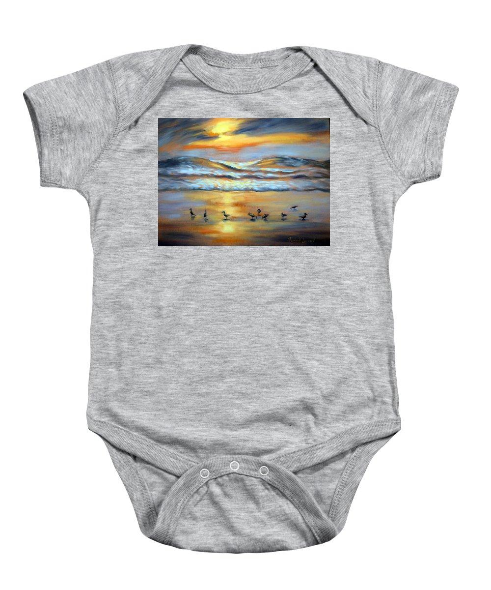 Sunset Baby Onesie featuring the painting Evening Prayers by Karin Leonard