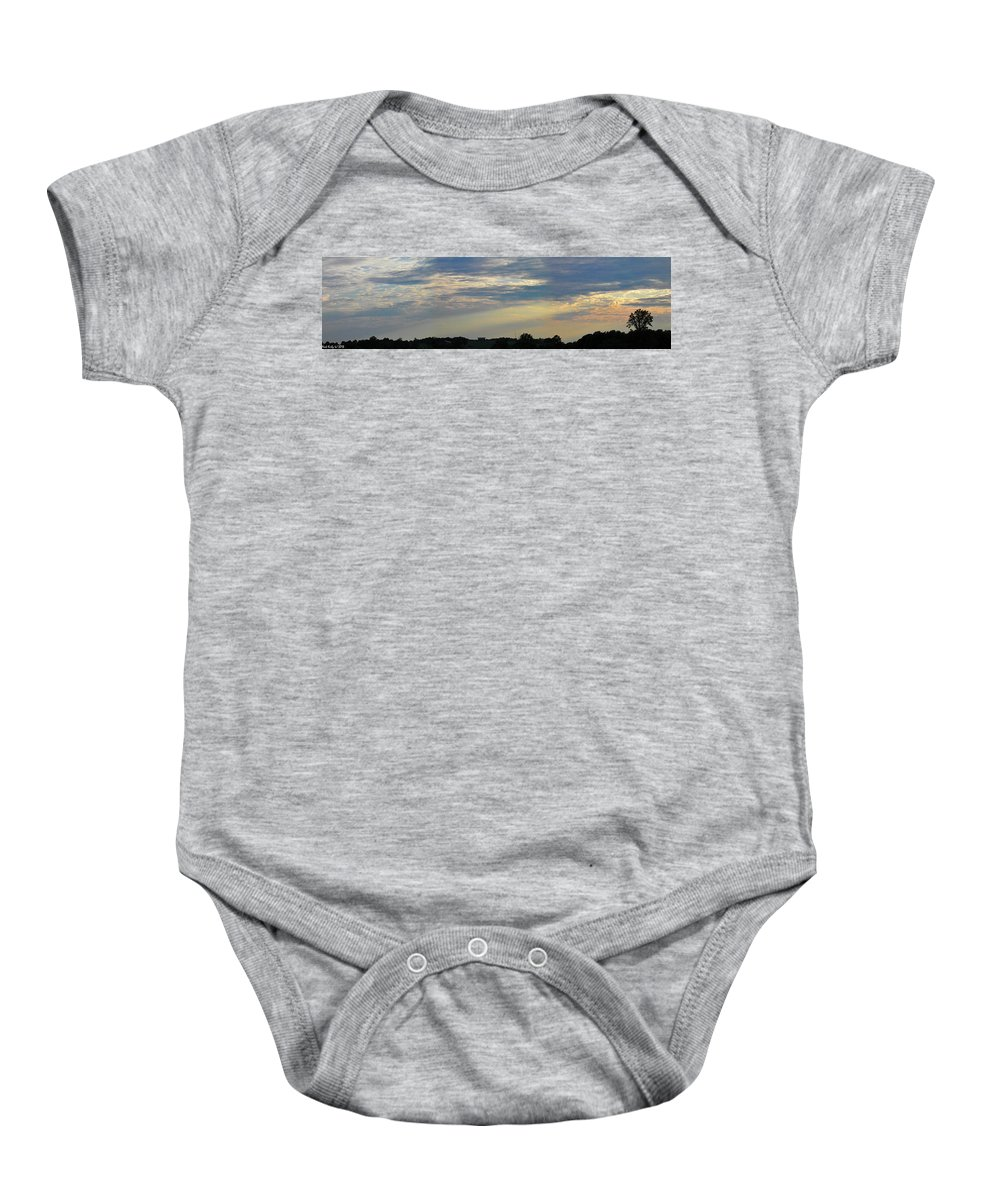 Sunset Baby Onesie featuring the photograph Evening Rays by Nick Kirby