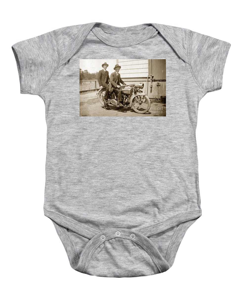 Excalibur Motorcycle Baby Onesie featuring the photograph Excalibur Motorcycle Circa 1920 by California Views Archives Mr Pat Hathaway Archives