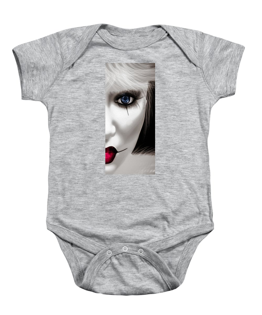 Harlequin Baby Onesie featuring the painting Eyes Of The Fool by Bob Orsillo