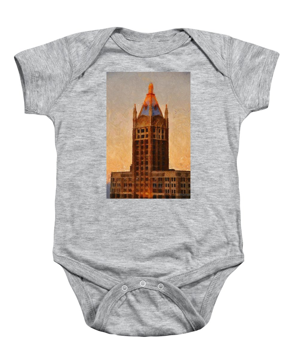Architecture Baby Onesie featuring the painting Fading Slowly Into Night by Jeffrey Kolker