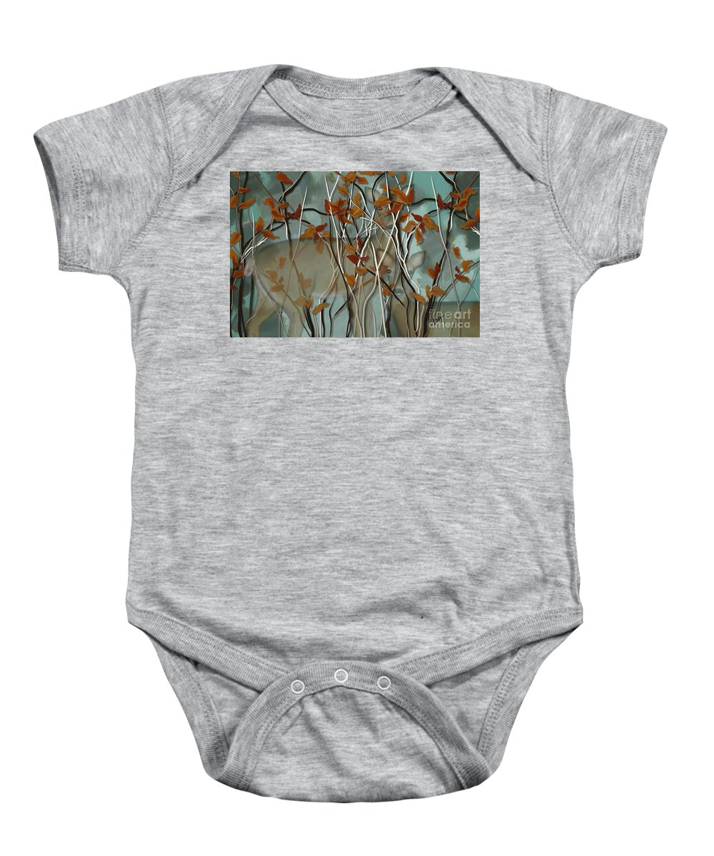 Fall Baby Onesie featuring the painting Fall Branches With Deer by Nancy Long