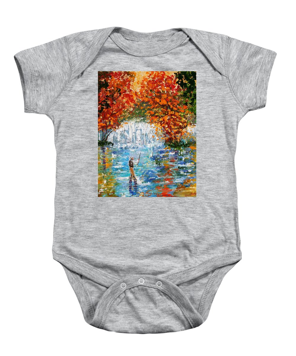 Fishing Baby Onesie featuring the painting Fall Fishing by Karen Tarlton