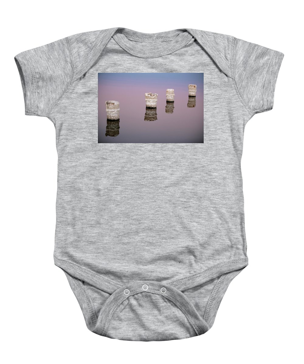 Salton Sea Baby Onesie featuring the photograph Fall Forward At Sunset by Scott Campbell