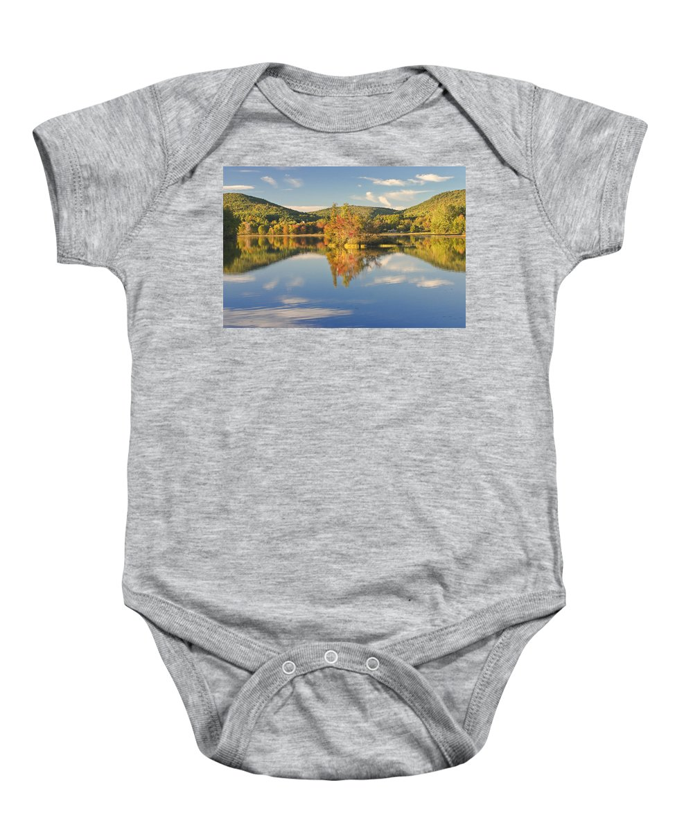 Vienna Baby Onesie featuring the photograph Fall Landscape On Flying Pond In Vienna Maine by Keith Webber Jr
