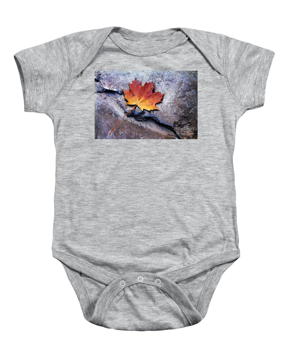 Leaves Baby Onesie featuring the photograph Fallen Hard by Nina Silver