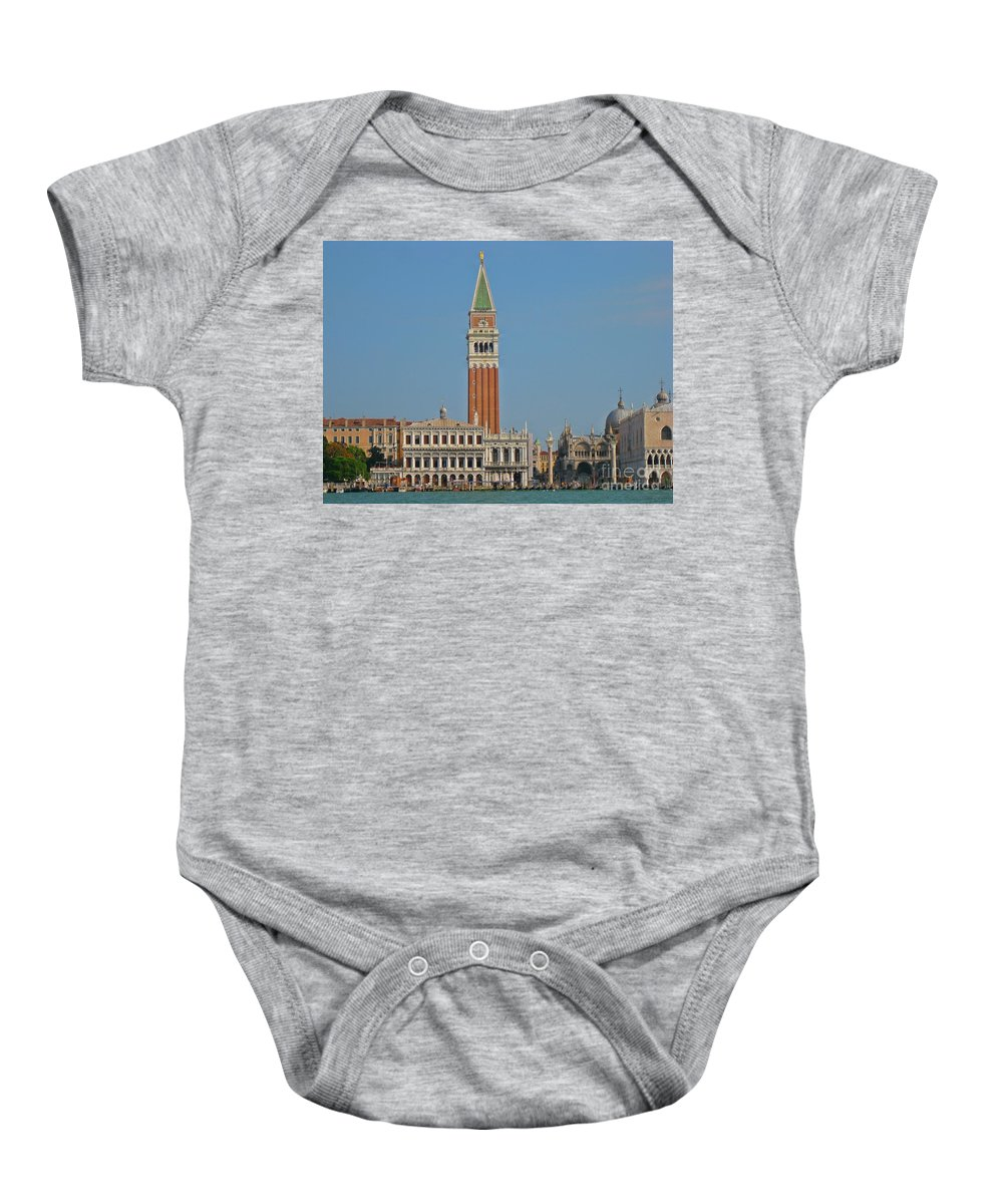 St Marks Church Baby Onesie featuring the photograph Famous Venice Italy by John Malone