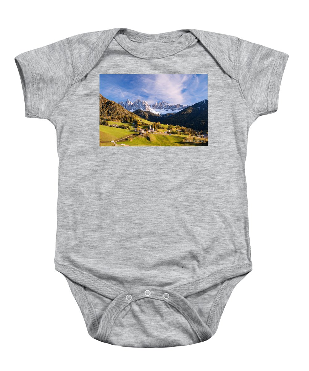 Landscape Baby Onesie featuring the photograph Famous View St Magdalena With Odle Mountains In The Dolomites Italy by Matteo Colombo
