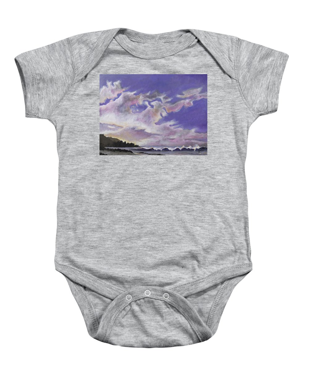 Landscape Baby Onesie featuring the painting Fantastic Sunset North Shore Oahu Hawaii by Carlene Salazar