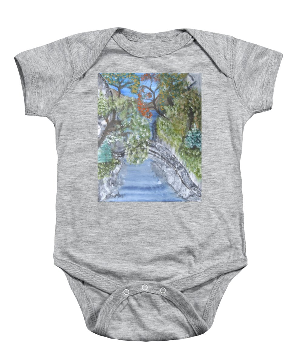 Trees Baby Onesie featuring the painting Far Off Place by Suzanne Surber