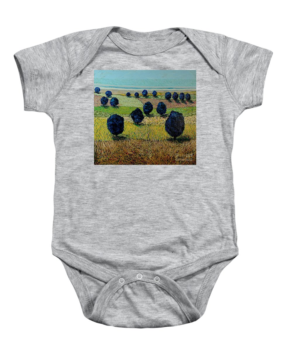 Landscape Baby Onesie featuring the painting Faraway Field by Allan P Friedlander