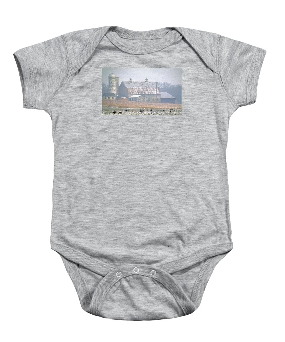 Nature Baby Onesie featuring the photograph Farm Fed by Skip Willits