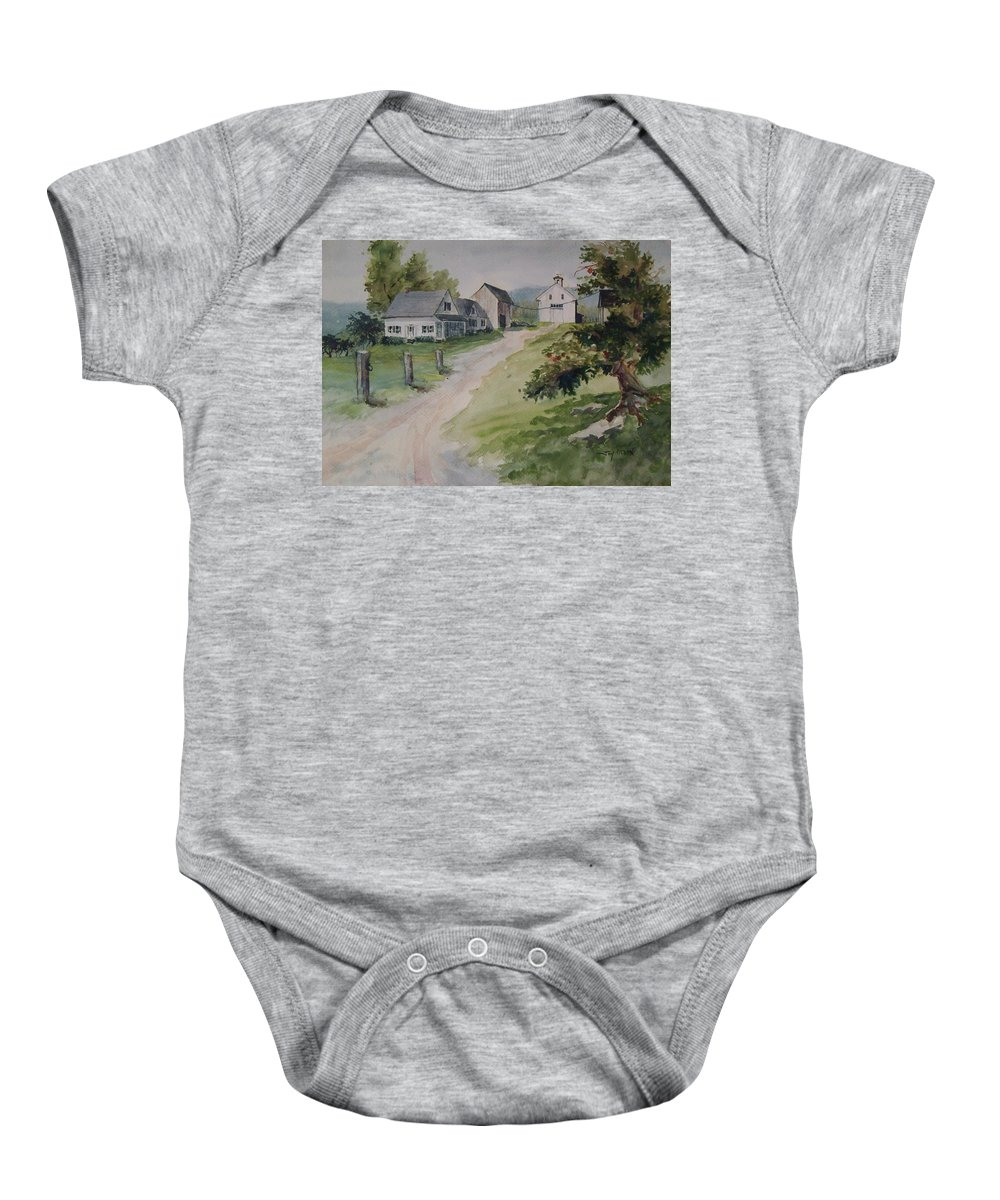 New England Baby Onesie featuring the painting Farm On Orchard Hill by Joy Nichols