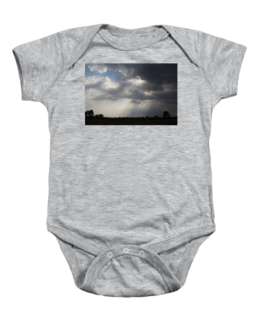 Sunbeam Baby Onesie featuring the photograph Farm Sunbeams by Dan McCafferty