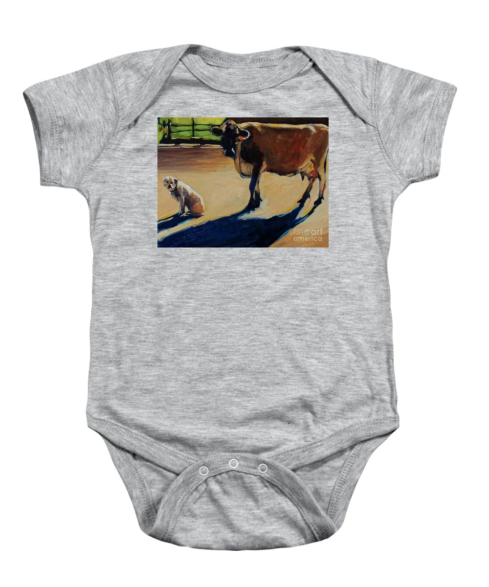 Farm Baby Onesie featuring the painting Farm Visit by Molly Poole