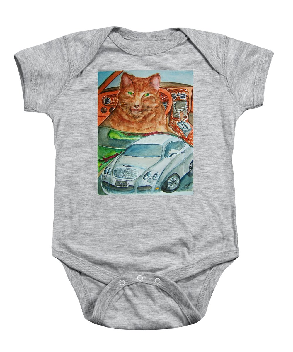 Cat Baby Onesie featuring the painting Fat Cat And The Bentley by Elaine Duras