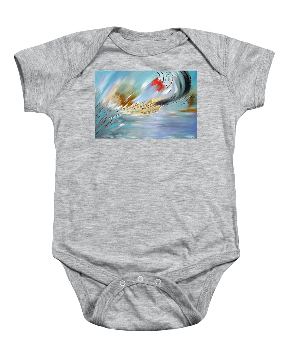Abstract Baby Onesie featuring the painting Feathered Stream by Debbie Levene