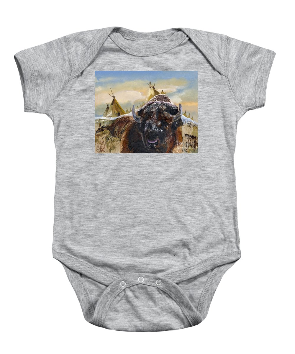 Bison Baby Onesie featuring the painting Feed The Fire by J W Baker