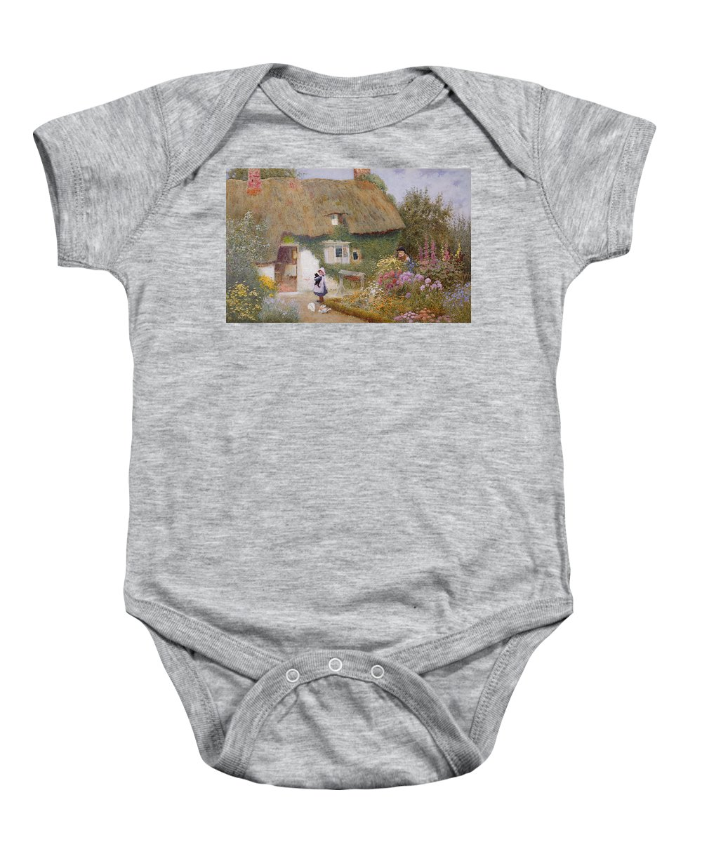 Thatch Baby Onesie featuring the painting Feeding The Pigeons by Arthur Claude Strachan