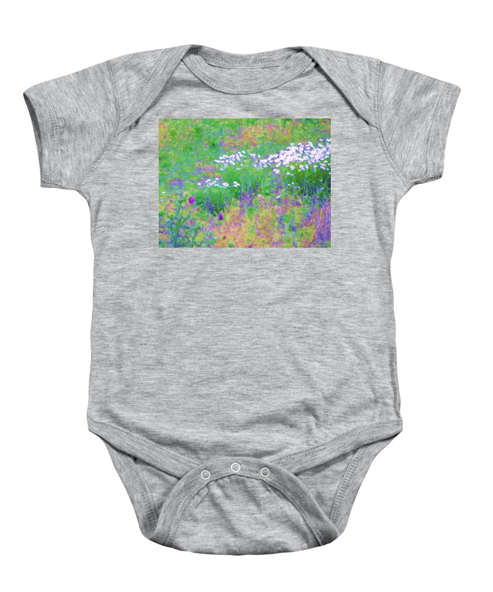 Print Of Flowers Baby Onesie featuring the painting Field Of Flowers In Nature by Susanna Katherine