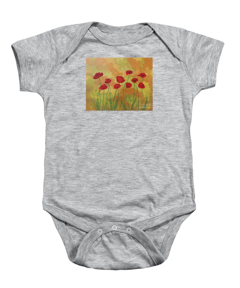 Red Poppies Baby Onesie featuring the painting Field Of Red Poppies by Jean Fry