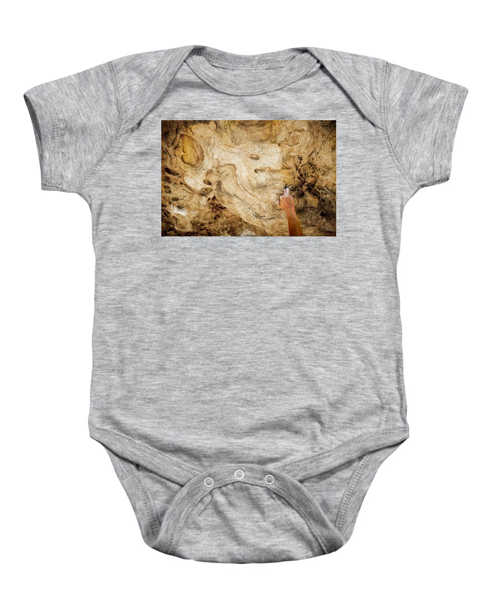 Adventure Baby Onesie featuring the photograph Fingers In A Pocket While Climbing by Dylan Lucas Gordon