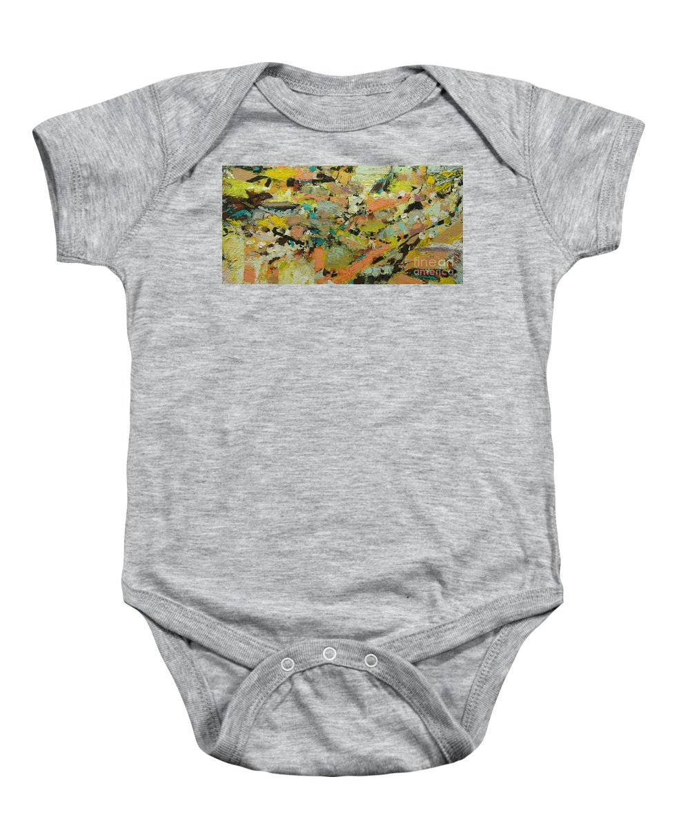 Landscape Baby Onesie featuring the painting Fire Bird by Allan P Friedlander