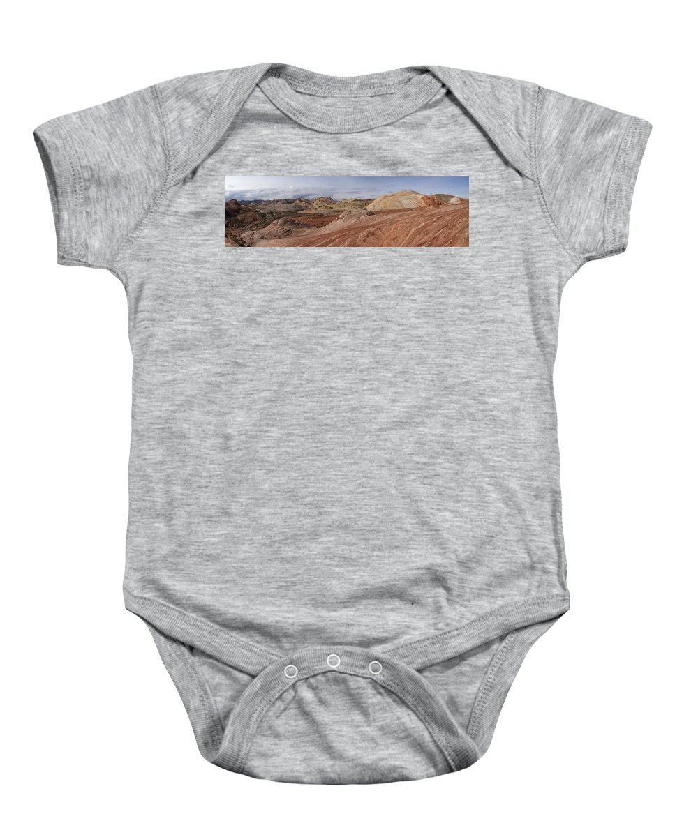 Fire Wave Baby Onesie featuring the photograph Fire Wave Panorama 1 by Debby Richards