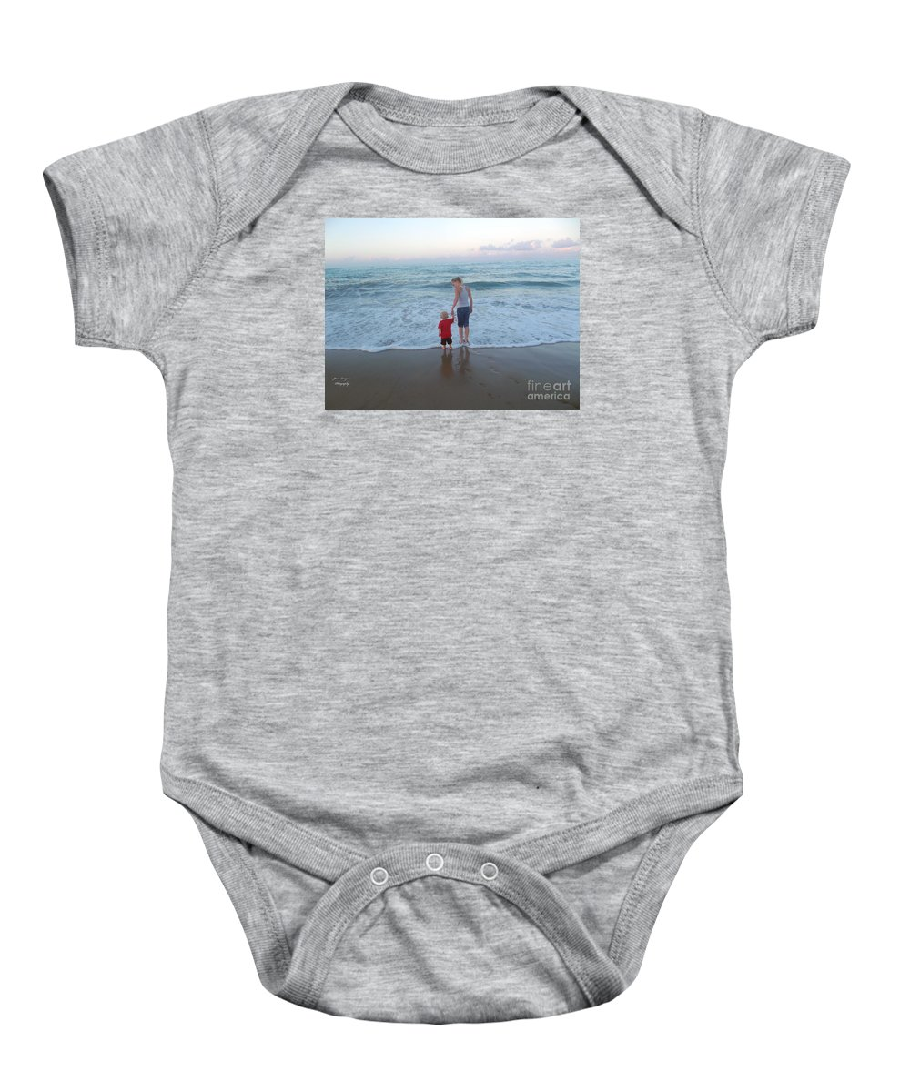 Ocean Baby Onesie featuring the photograph First Time At The Beach by Jennifer Lavigne