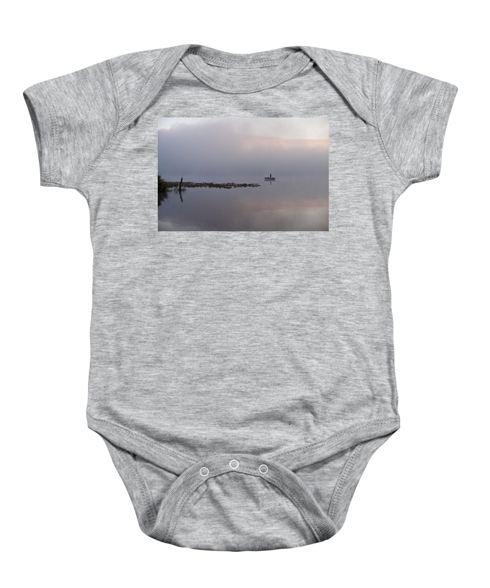 Landscape Baby Onesie featuring the photograph Fisherman In Samll Fishing Boat by Jim Corwin