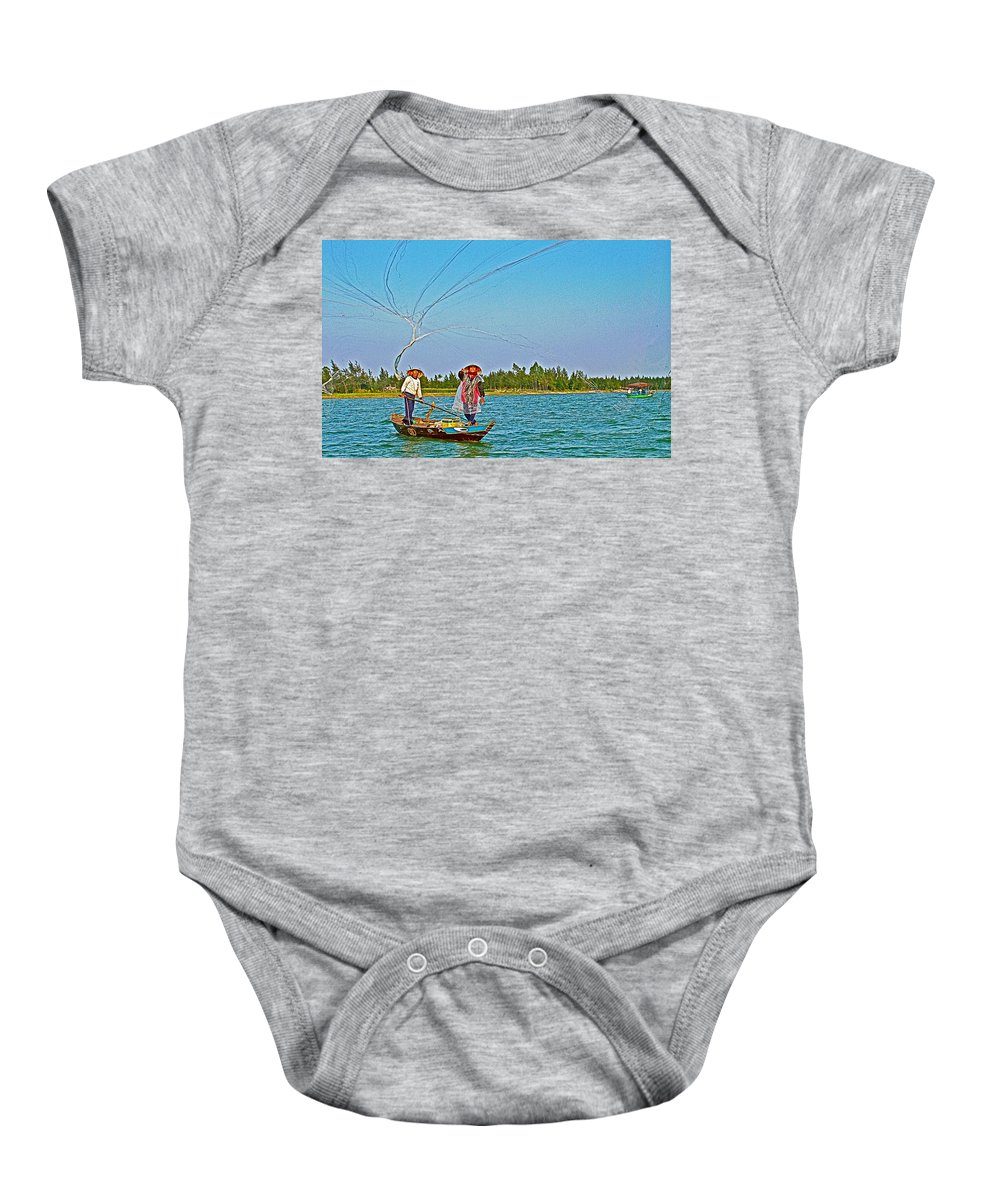 Fishermen Casting A Broad Net On Thu Bon River In Hoi An Baby Onesie featuring the photograph Fishermen Casting A Broad Net On Thu Bon River In Hoi An-vietnam by Ruth Hager
