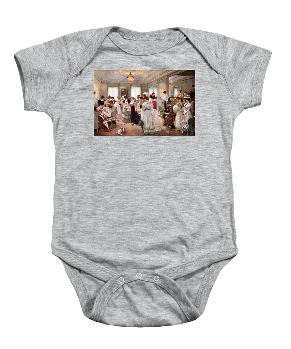 Five Hours At Paquin Baby Onesie featuring the digital art Five Hours At Paquin by Henri Gervex