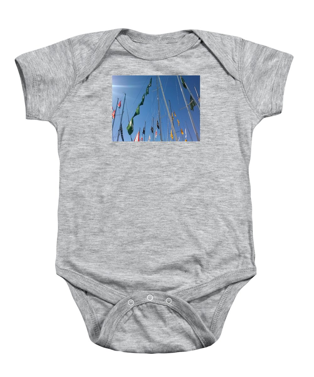Sky Baby Onesie featuring the photograph Flags by Tamara Michael