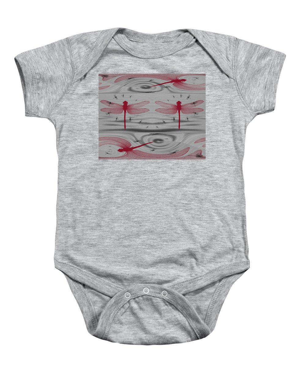 Red Baby Onesie featuring the digital art Flexfly Dragonfly by Teri Schuster