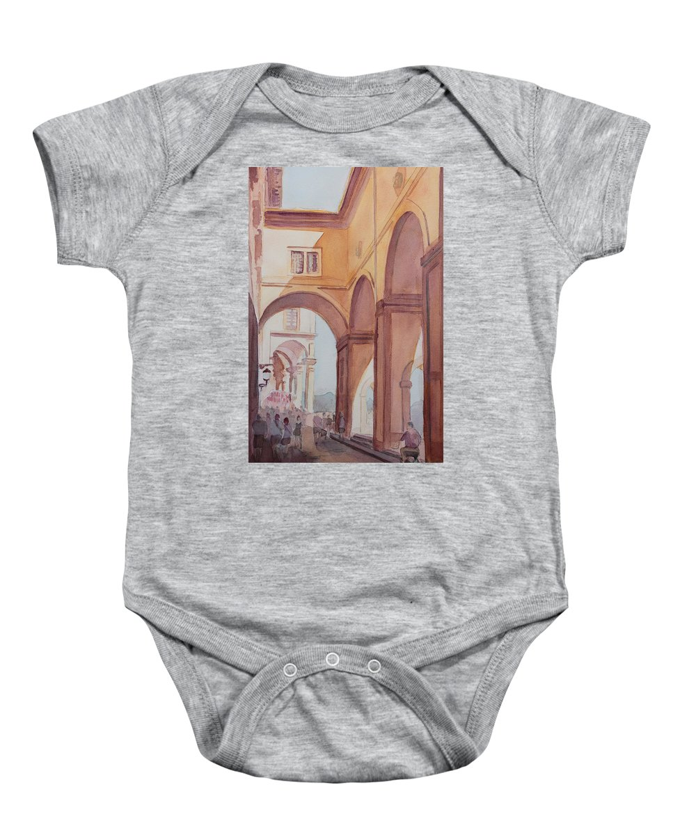 Florence Baby Onesie featuring the painting Florence Arcade by Jenny Armitage