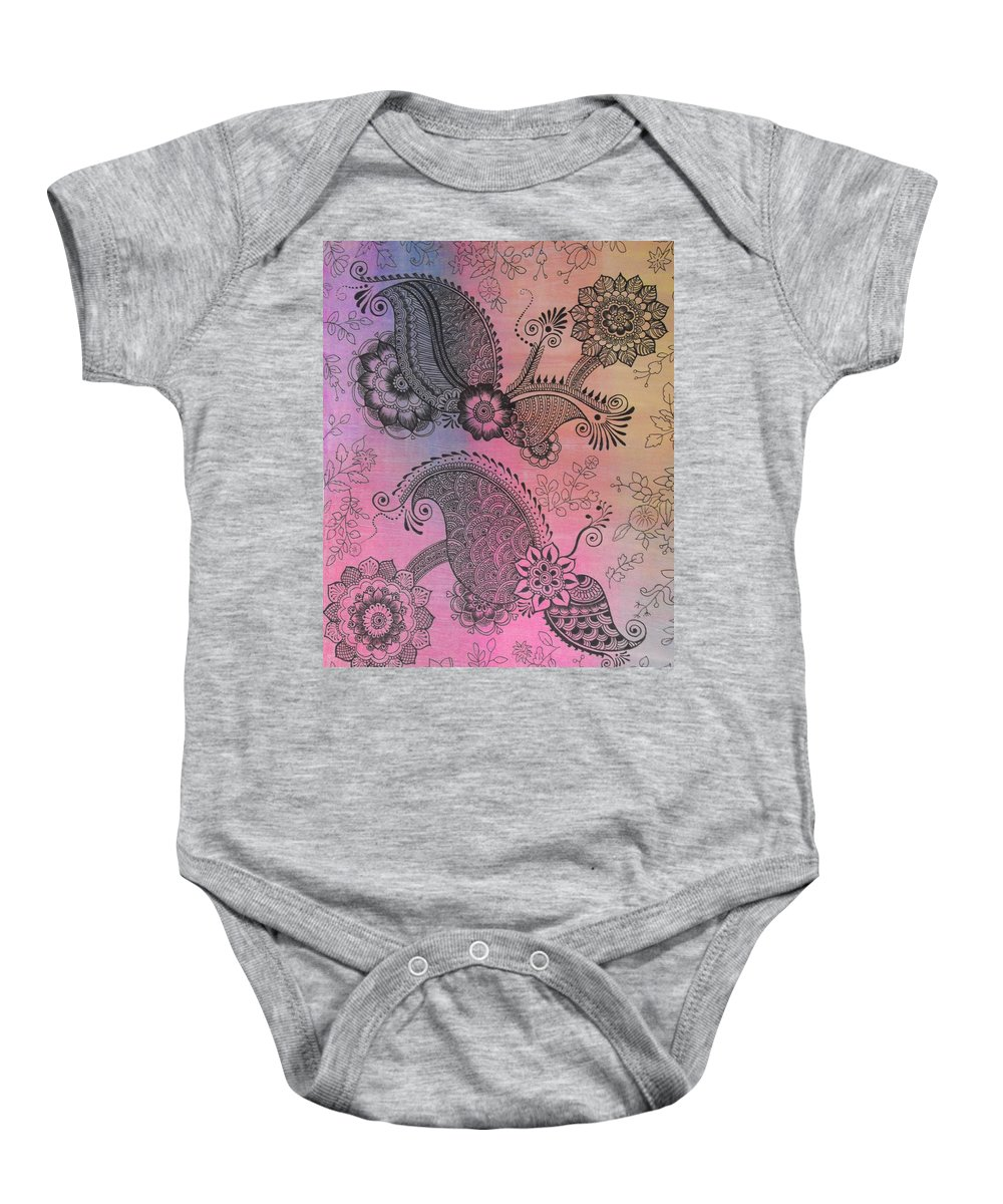 Birthday Baby Onesie featuring the painting Flower N Leaves by M Ande