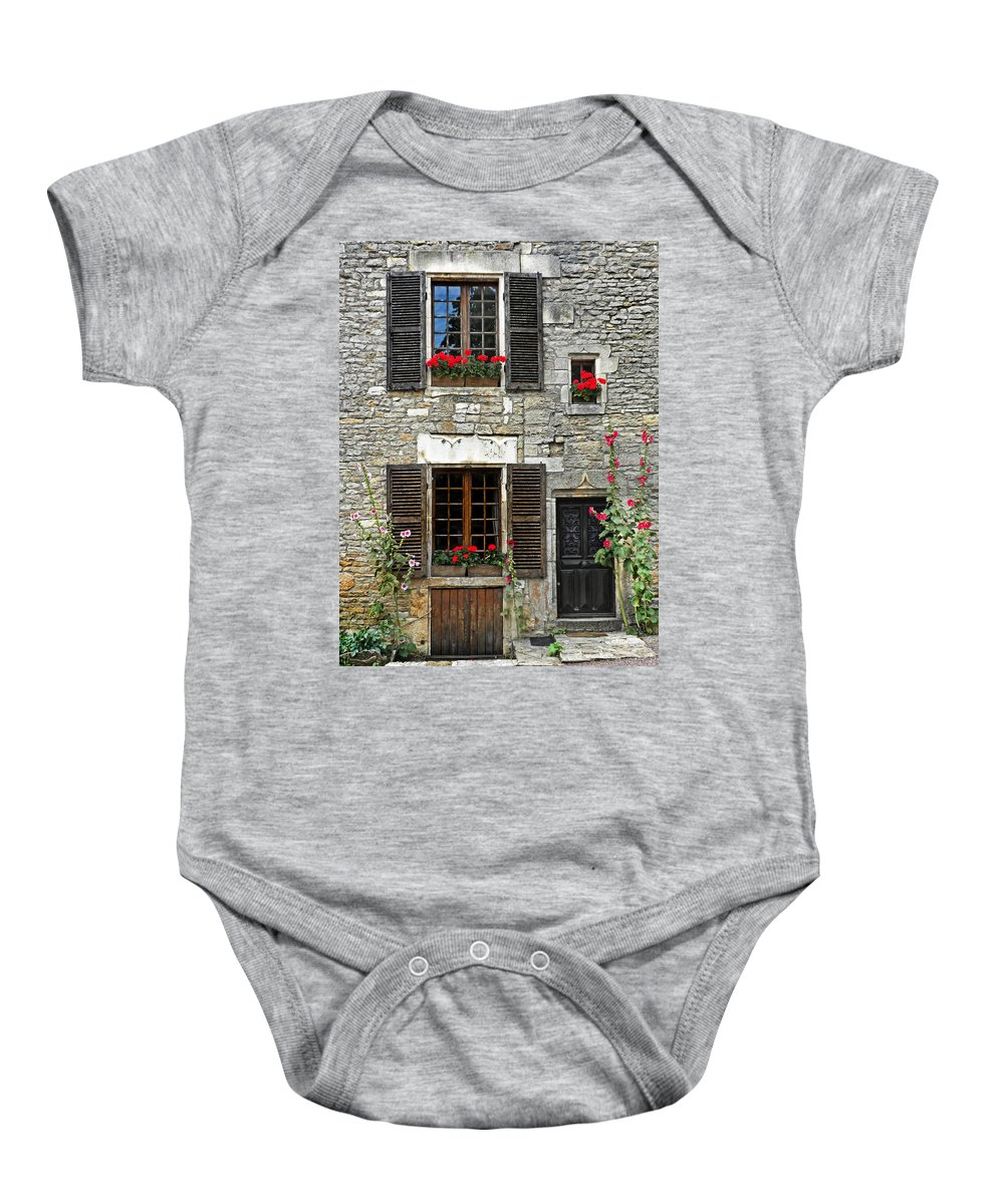 France Baby Onesie featuring the photograph Flowers And Windows by Dave Mills