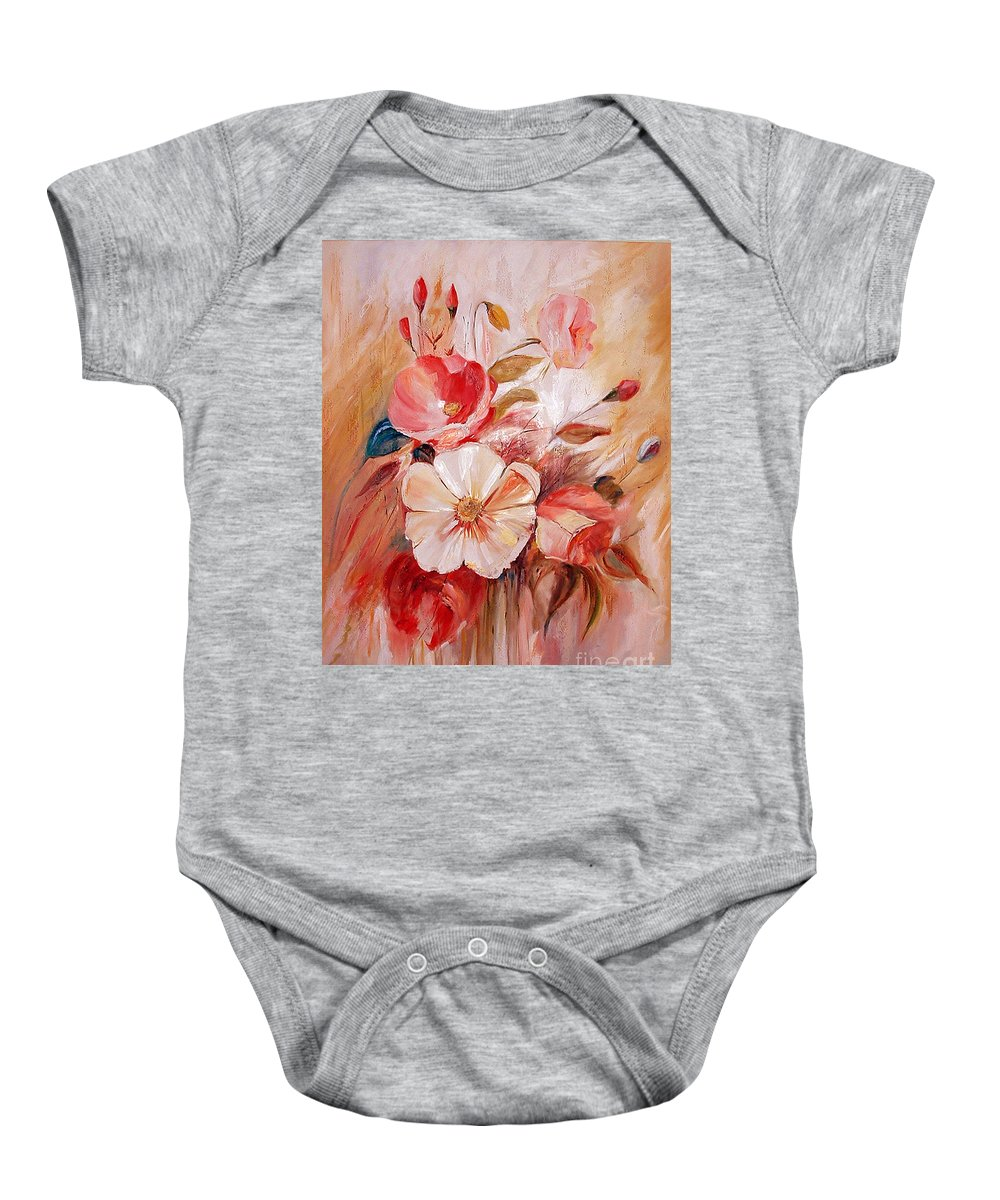 Abstract Baby Onesie featuring the painting Flowers I by Silvana Abel