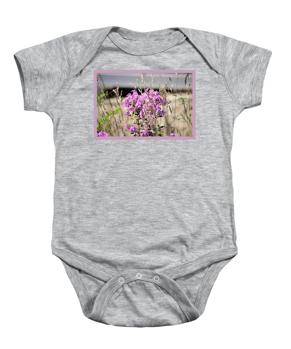 Purple Baby Onesie featuring the photograph Flowers In The Grass 8891 by Bonfire Photography