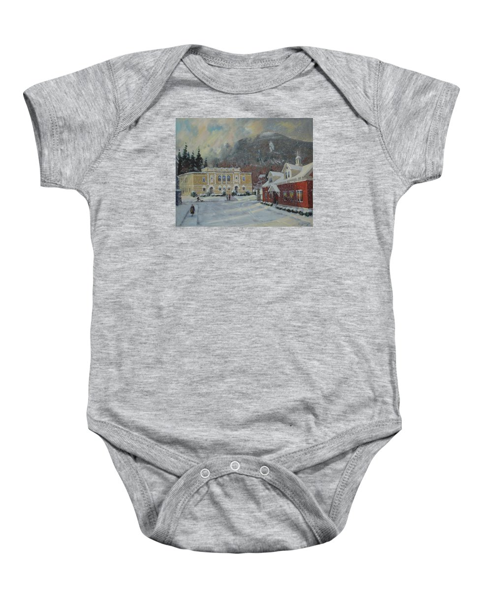 Berkshire Hills Paintings Baby Onesie featuring the painting Flurries Over Mount Greylock by Len Stomski