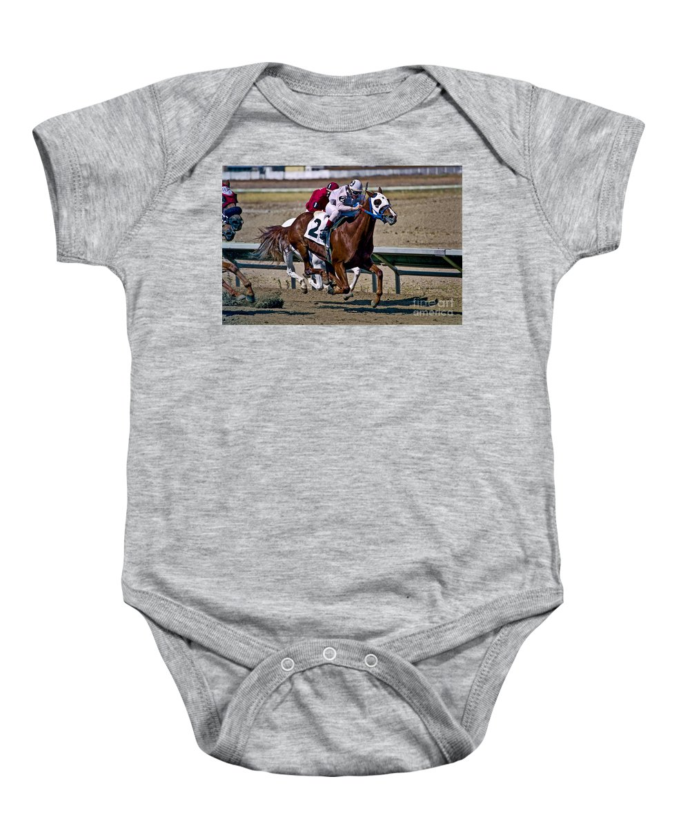 Racing Baby Onesie featuring the photograph Flying Hooves by Kathy McClure