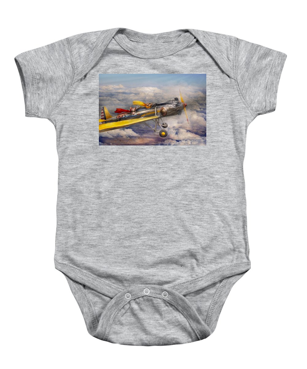 Pig Baby Onesie featuring the photograph Flying Pig - Plane - The Joy Ride by Mike Savad