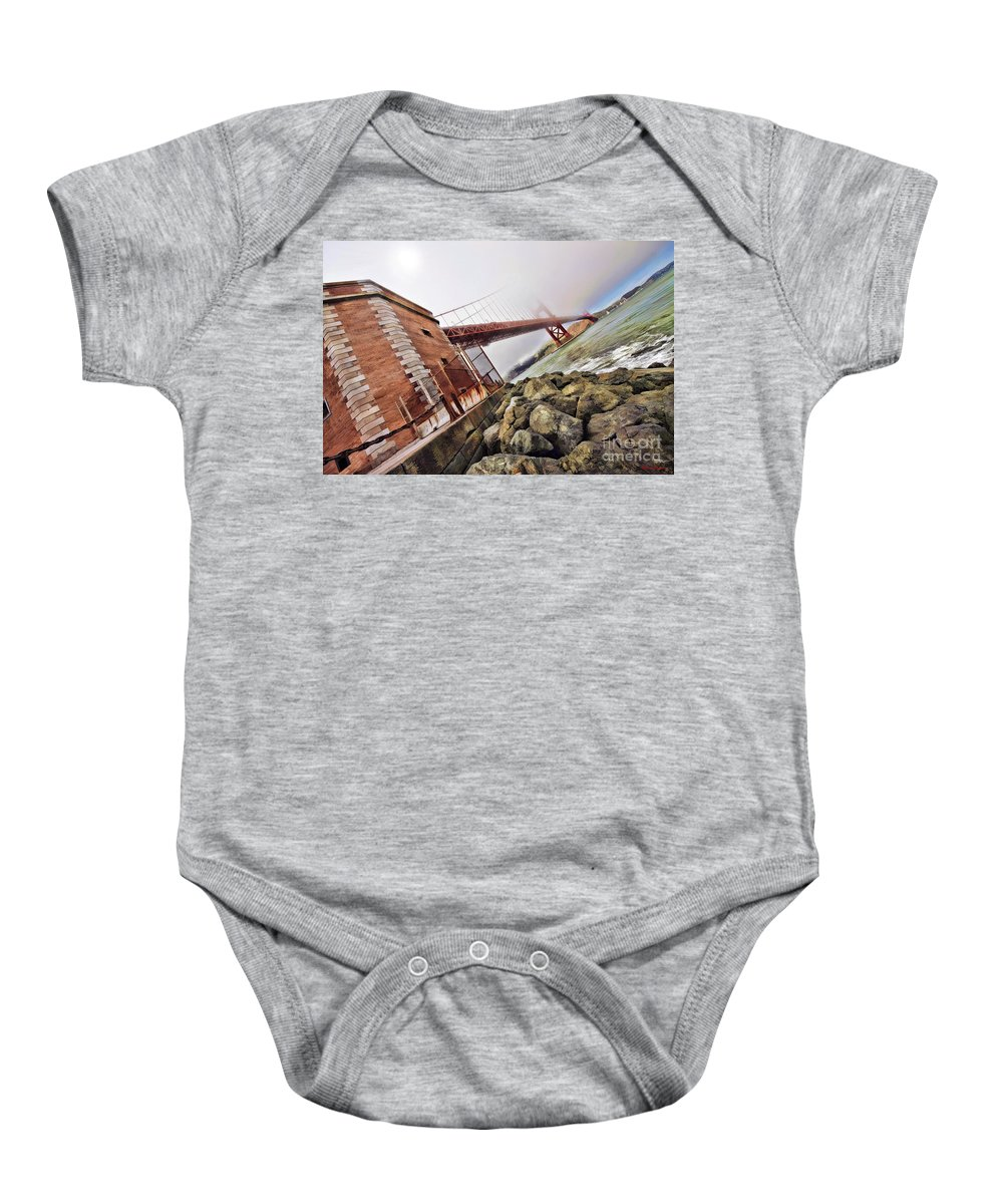 Art Photography Baby Onesie featuring the photograph Foggy Gates by Blake Richards