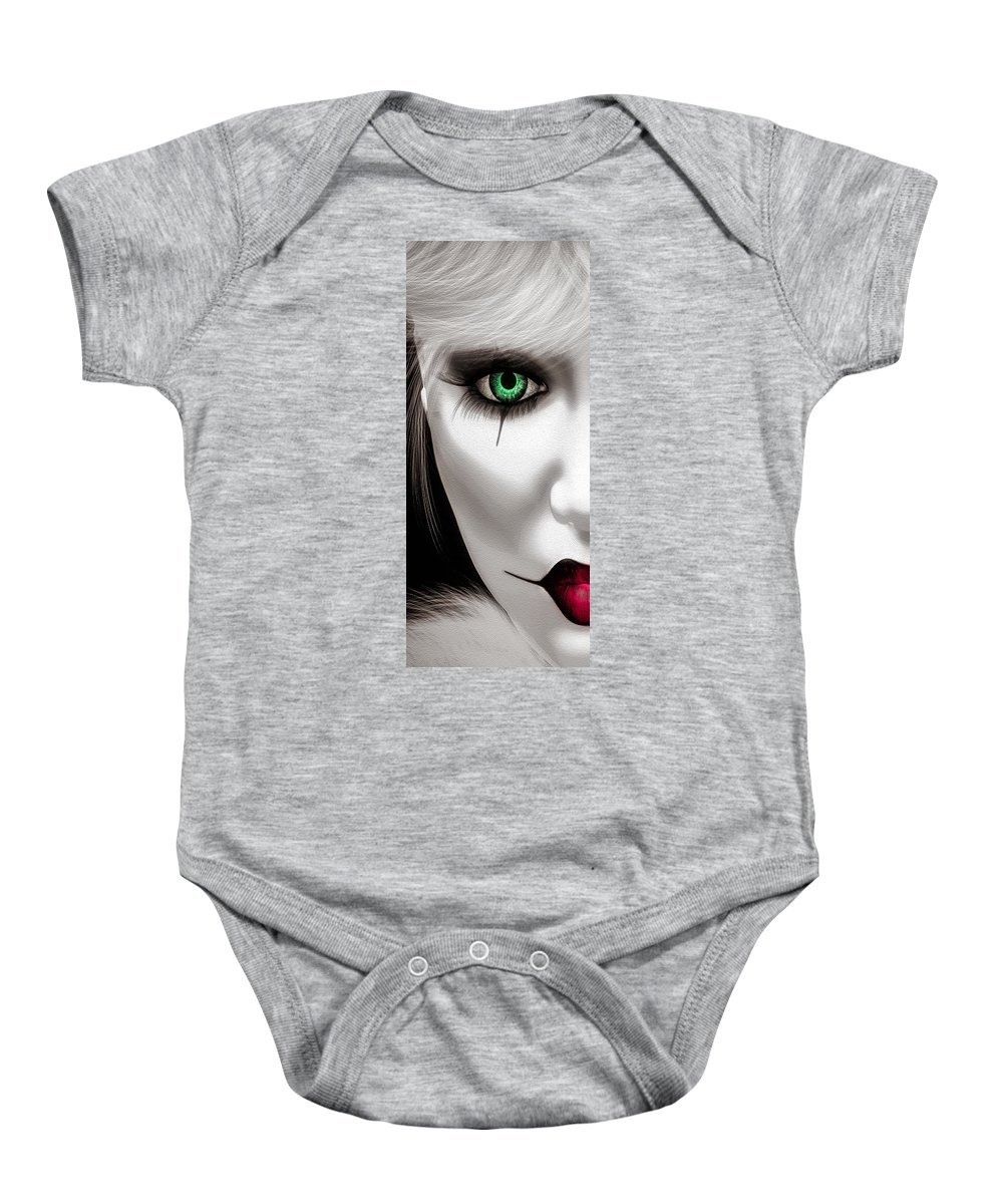 Harlequin Baby Onesie featuring the painting Fool by Bob Orsillo