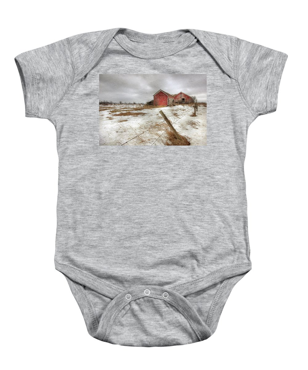 Old Red Barn Baby Onesie featuring the photograph For Sale by Lori Deiter