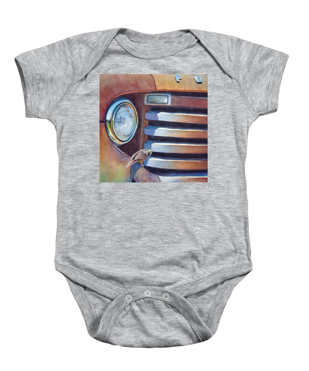 Old Truck Baby Onesie featuring the painting Ford And Wren by Greg and Linda Halom