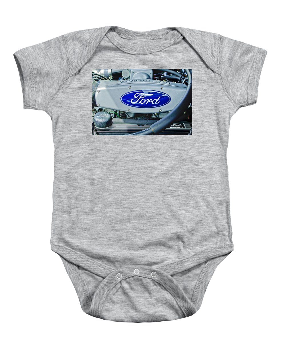 Ford Engine Emblem Baby Onesie featuring the photograph Ford Engine Emblem by Jill Reger