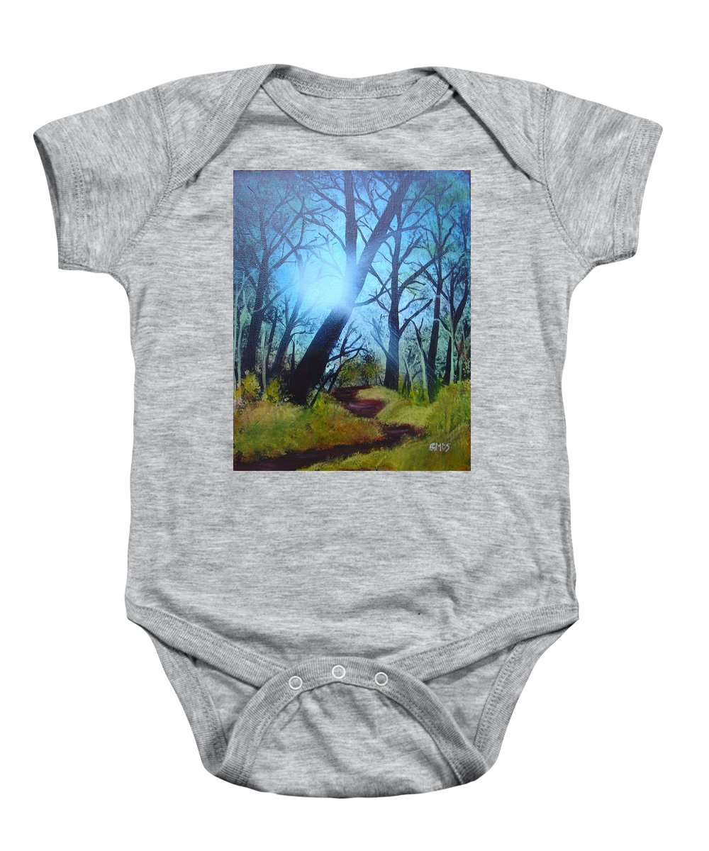 Painting Baby Onesie featuring the painting Forest Sunlight by Charles and Melisa Morrison