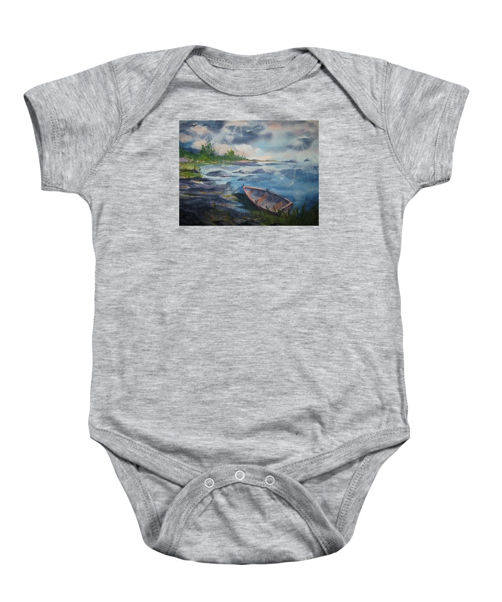 Rowboat Baby Onesie featuring the painting Forgotten Rowboat by Ellen Levinson